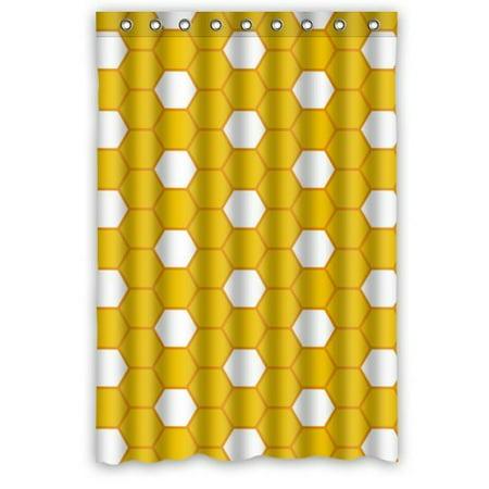 BPBOP Yellow White Beehive Pattern Waterproof Bathroom Fabric Shower Curtain 48x72 (Beehive Water)