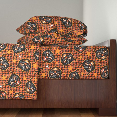 Scary Cats Vintage Halloween Orange 100% Cotton Sateen Sheet Set by Roostery (Halloween Division Sheets)