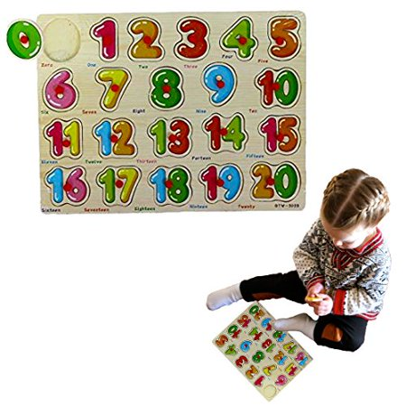 Classic Wooden Puzzle - 20 Pc Math Learning Activity Set for kids 2 and Up - Includes Stackable Numbers 1 to 20 | Wooden Peg Puzzle Educational Board Game