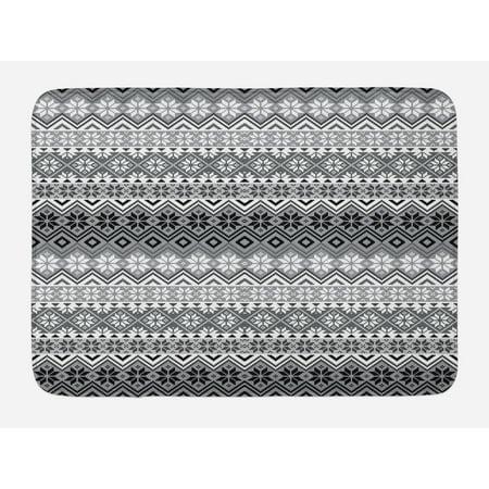 Grey Bath Mat Nordic Snowflake Knit Patterns Scandinavian Motifs