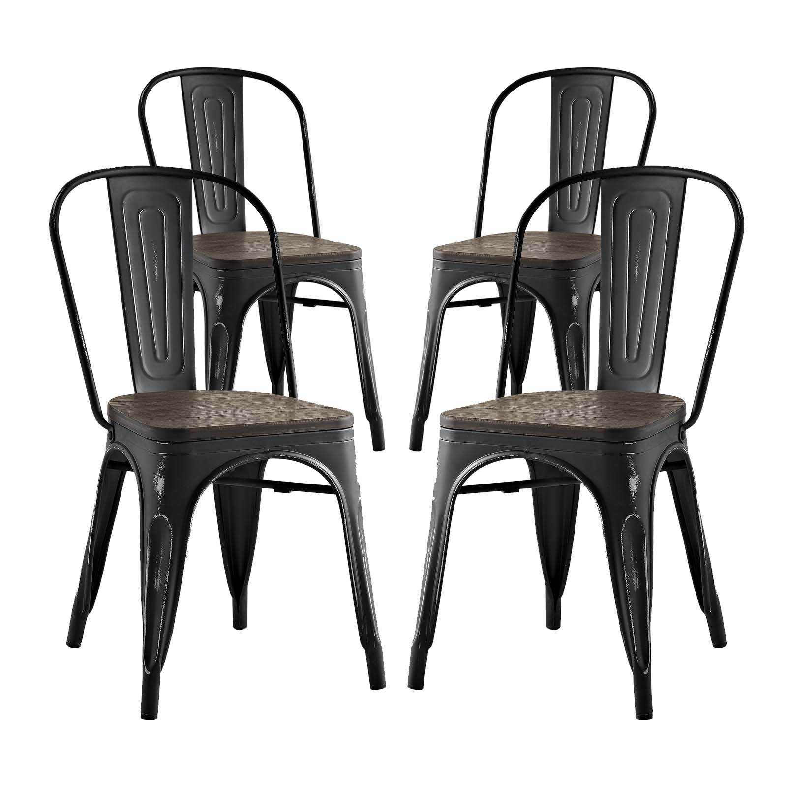 Modern Contemporary Urban Design Industrial Distressed Antique Vintage Style Kitchen Room Dining Chair ( Set of 4), Black, Metal