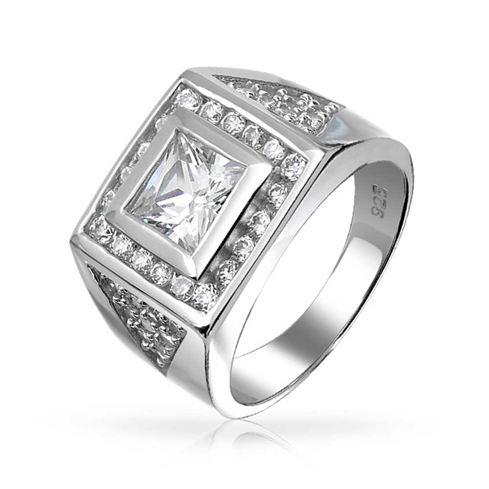 Bling 925 Silver Square Princess Cut Pave CZ Triangles Me...