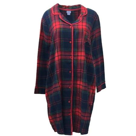 Laura scott womens red plaid flannel nightgown sleep shirt for Women s flannel sleep shirt