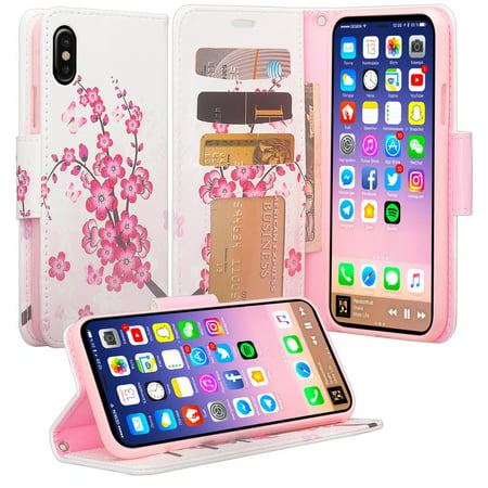 iPhone X Case, Apple iPhone X Wallet Case, Wrist Strap Flip Folio [Kickstand Feature] Pu Leather Wallet Case with ID&Credit Card Slot For iPhone X, Cherry Blossom Apple Iphone Cherries