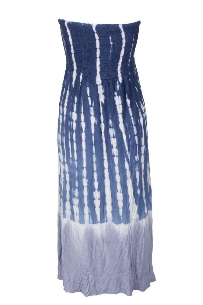 Raviya Plus Size Navy White Tie-Dye Printed Ruffled Tube Dress Cover-Up 1X
