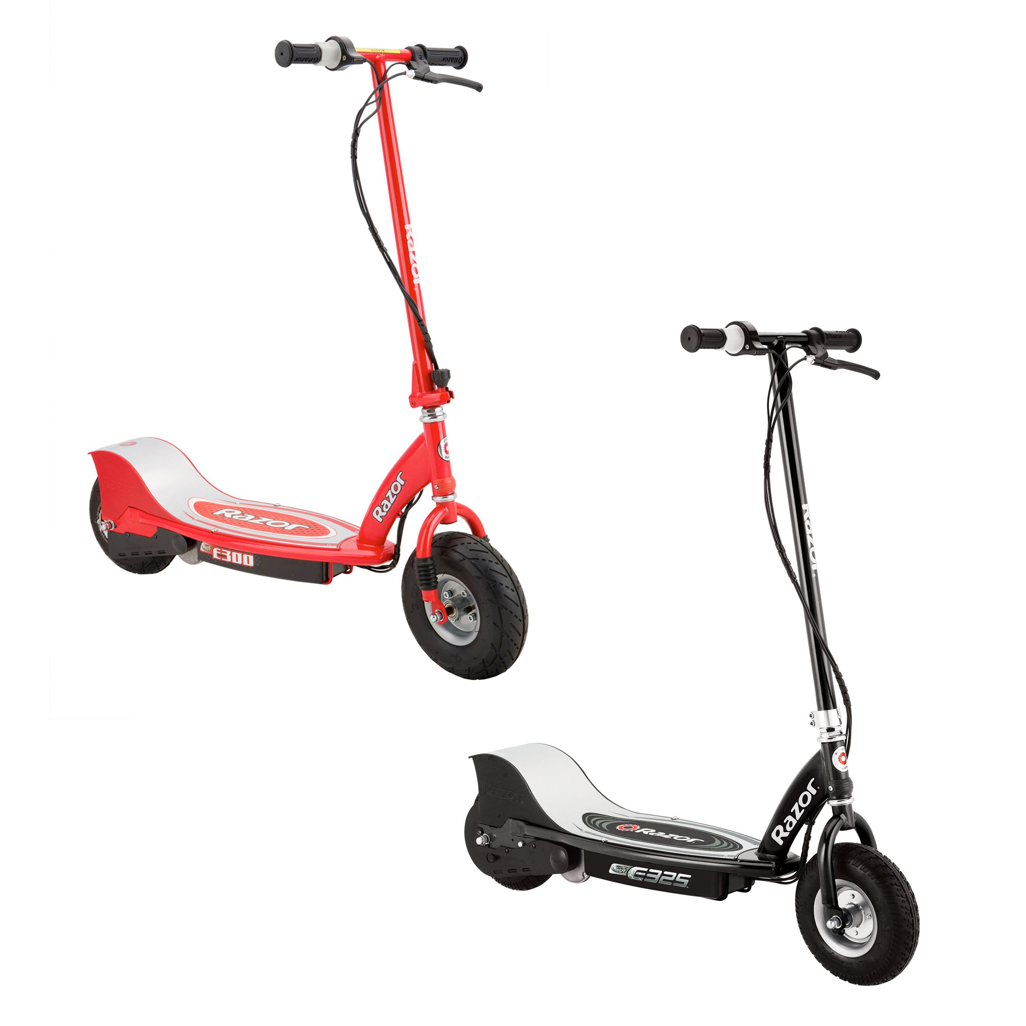 Razor Electric Rechargeable Motorized Ride On Kids Scooters, 1 Black & 1 Red by Razor