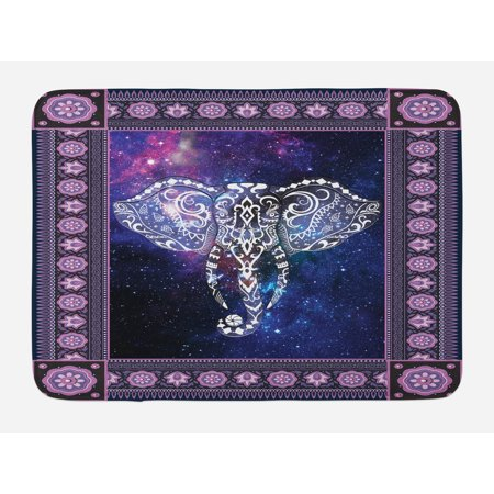 Animal Bath Mat, Elephant in a Frame on Outer Space Galaxy Stars Andromeda Background Art Print, Non-Slip Plush Mat Bathroom Kitchen Laundry Room Decor, 29.5 X 17.5 Inches, Mauve Purple, Ambesonne