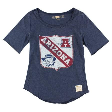 Distant Replays Womens Arizona Wildcats College Rounded Bottom T Shirt Dark Blue