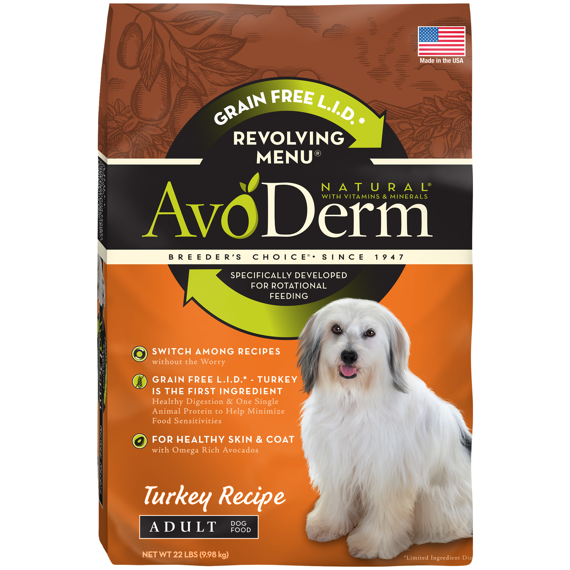 AvoDerm Natural Revolving Menu Adult Dog Food, Turkey, 22-Pound