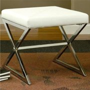 A Line Furniture Ikon Sleek Design Cream/White Upholstered Accent Bench Ottoman
