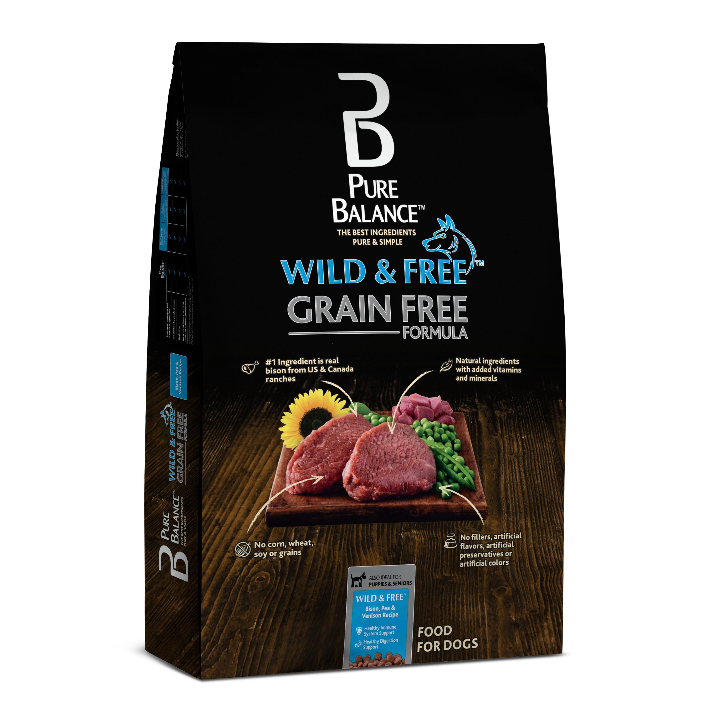 Pure Balance Wild & Free Grain-Free Bison, Pea & Venison Recipe Dry Dog Food, 24 lb