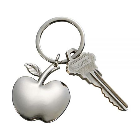 Silver Photo Key Tag - 3 in. Bright Apple Shaped Key Chain, Nickel Plated - Silver