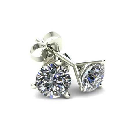 .50Ct Round Brilliant Cut Natural Diamond Stud Earrings in 14K Gold Martini Setting