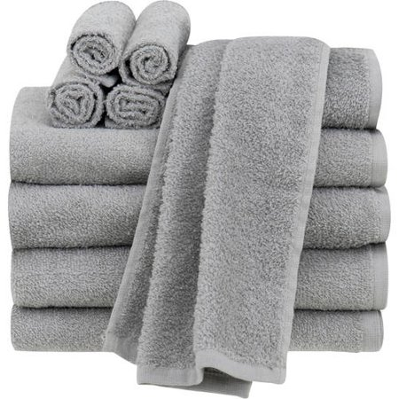 Mainstays Value Terry Cotton Bath Towel Set - 10 Piece Set, Gray