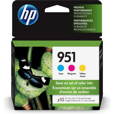 HP 951 3-pack Cyan/Magenta/Yellow Original Ink Cartridges (920 Cyan Officejet Ink)