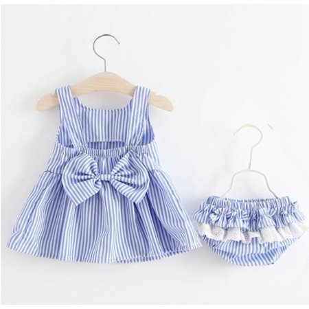 Toddler Infant Baby Girl Striped Sleeveless Mini Dress with Bow-Knot+Ruffles Bottoms Set Outfits