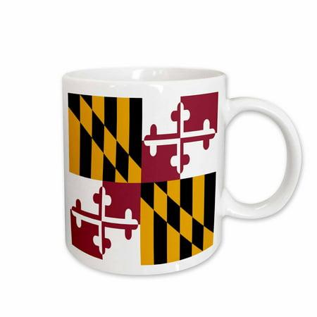 3dRose State Flag of Maryland - US American - Heraldic banner of George Calvert 1st Baron Baltimore America, Ceramic Mug, 11-ounce