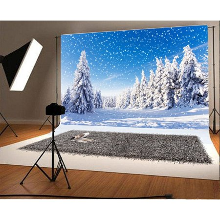 GreenDecor Polyester 7x5ft Photography Backdrop Christmas Pine Tree Forest Snow Covered Landscape Snowflakes Sunshine Nature Winter Scene Happy New Year Backgro for $<!---->