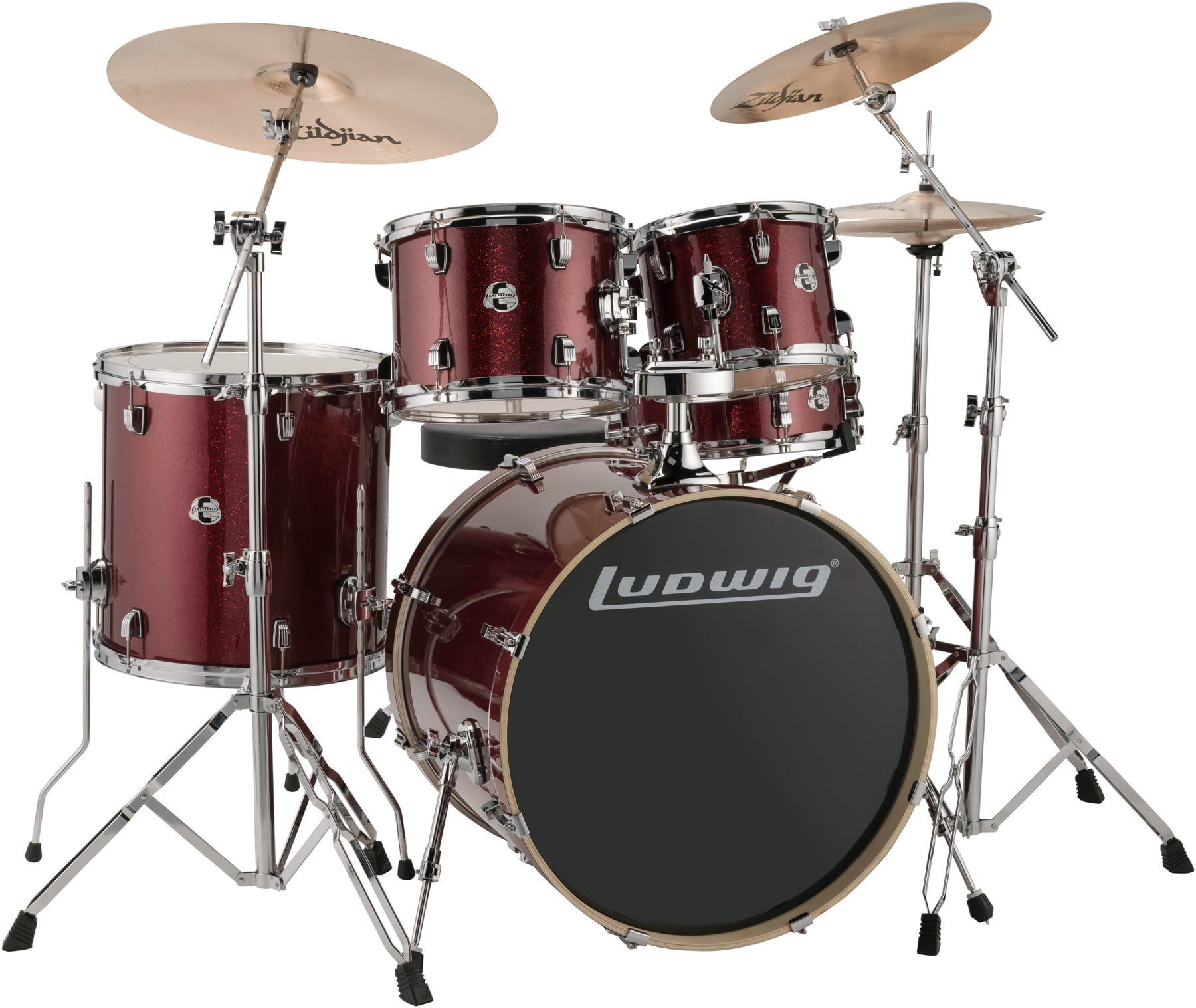 Ludwig LCEE22025 Element Evolution 5-piece Drum Set Red Sparkle Finish by Ludwig