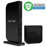 Nyrius ARIES Home+ Wireless HDMI 2x Input Transmitter & Receiver for Streaming HD 1080p 3D Video and Digital Audio from Cable box, Satellite, Bluray, DVD, PS4, PS3 - 1 Year Extended Warranty