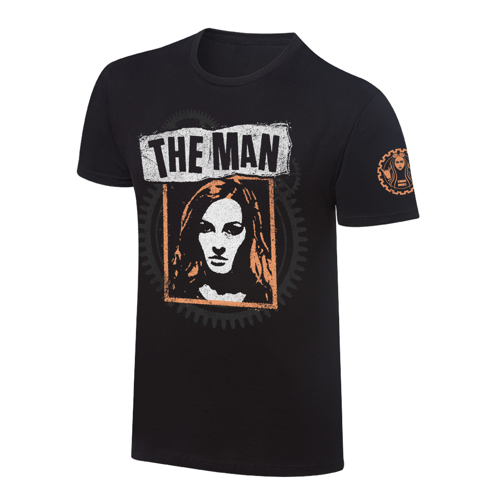 """Official Wwe Authentic Becky Lynch """"The Man"""" Photo T-Shirt Black Small"""