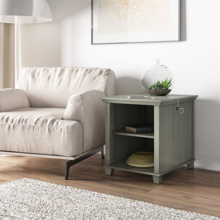Better Homes & Gardens Millington Side Table with USB Charging Ports, Distressed Gray ()