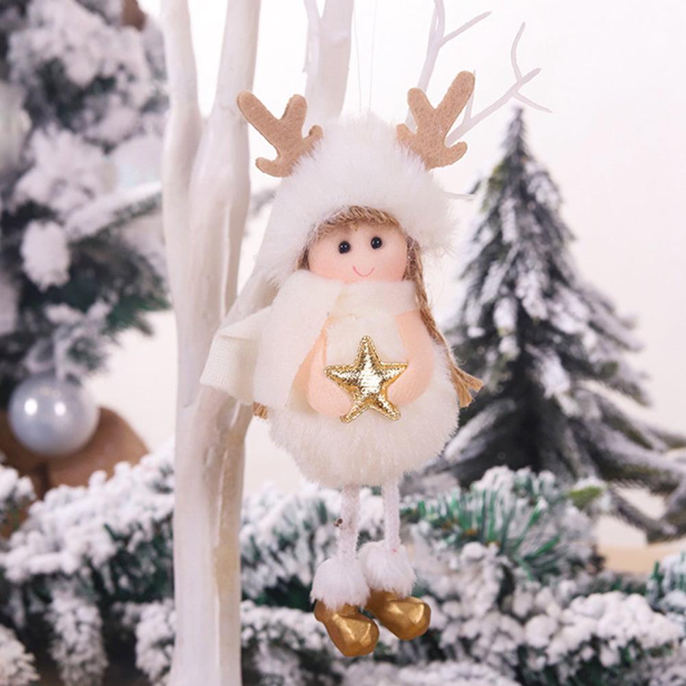 Kaboer Christmas Cute Ornaments Pink White Silk Plush Doll Angel Decorations For Home Christmas Tree Xmas Gift Walmart Com Walmart Com