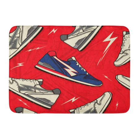 GODPOK Balance Colorful Athlete Classic Runner Trainer Sneakers Shoes Pattern in White Athletic Cartoon Rug Doormat Bath Mat 23.6x15.7 inch