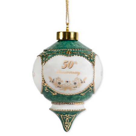 Happy 50th Wedding Anniversary Jewel Victorian 4.5 Inch Ball Hanging (Victorian Christmas Decor)