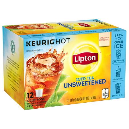 Lipton Unsweetened K Cups Pods Iced Black Tea, 12