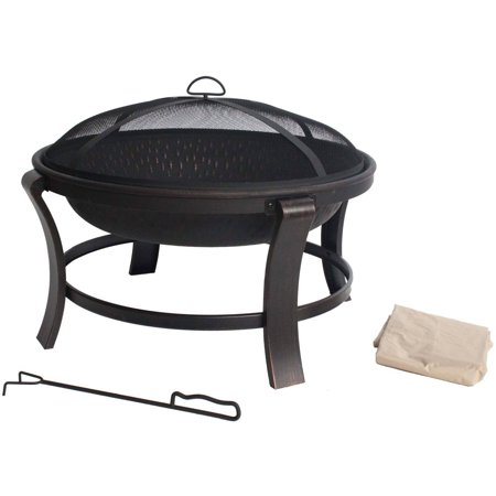 "Mainstays Deep 30"" Fire Pit, Antique Bronze"