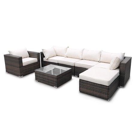 7 Piece Modular Outdoor Patio Furniture Set Wicker