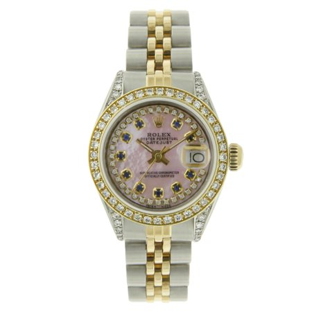 Pre-owned Ladies Datejust String Pink Mother of pearl Diamond Dial & Bezel Two Tone 26mm