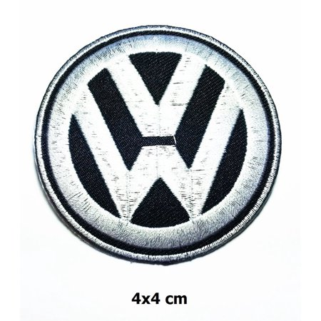 Volkswagen Vw Mini Gray on Black 4 cm x 4 cm Logo Sew Ironed On Badge Embroidery Applique Patch