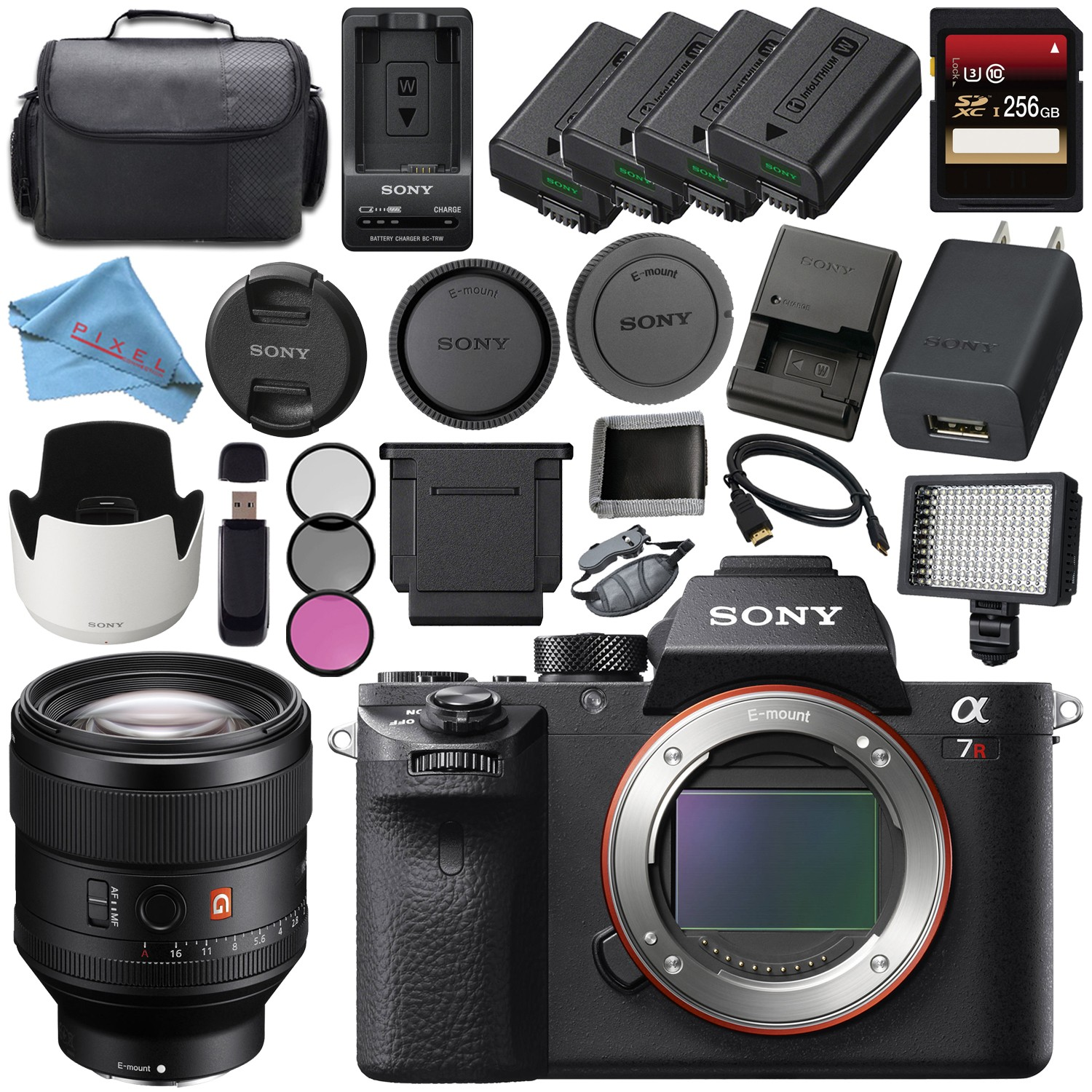 Sony ILCE7RM2/B Alpha a7R II Mirrorless Digital Camera (Body Only) + Sony FE 85mm f/1.4 GM Lens SEL85F14GM + 256GB SDXC Card + NP-FW50 Lithium Ion Battery + External Rapid Charger Bundle