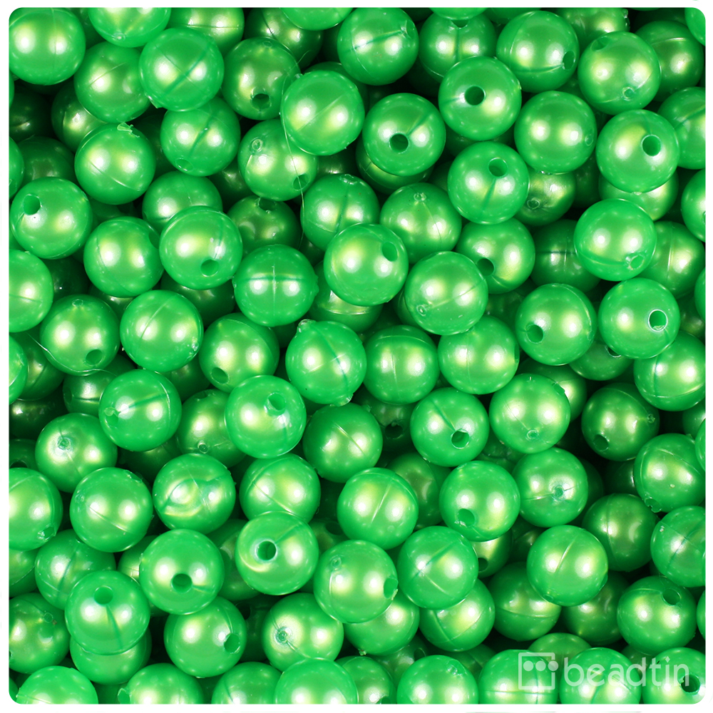 BeadTin Spring Green Pearl 8mm Round Craft Beads (300pcs)