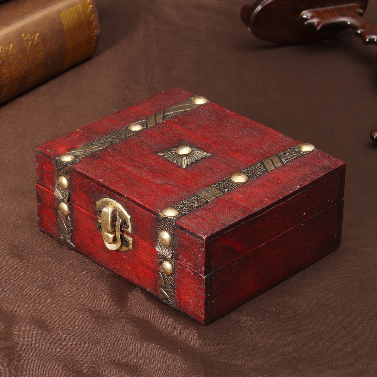 Decorative Trinket Jewelry Storage Boxes or Organizers Vintage Wooden Chest Treasure Case Cheap