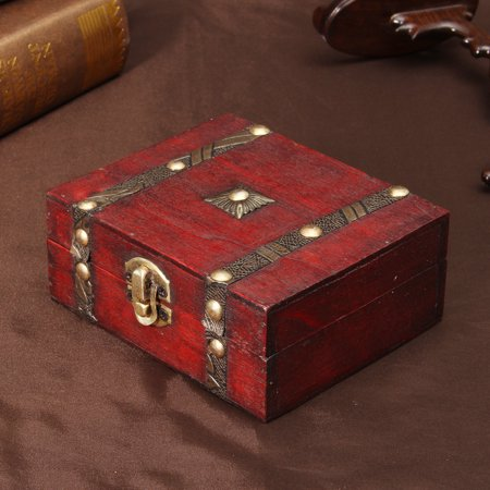 Decorative Trinket Jewelry Storage Boxes or Organizers Vintage Wooden Chest Treasure Case -