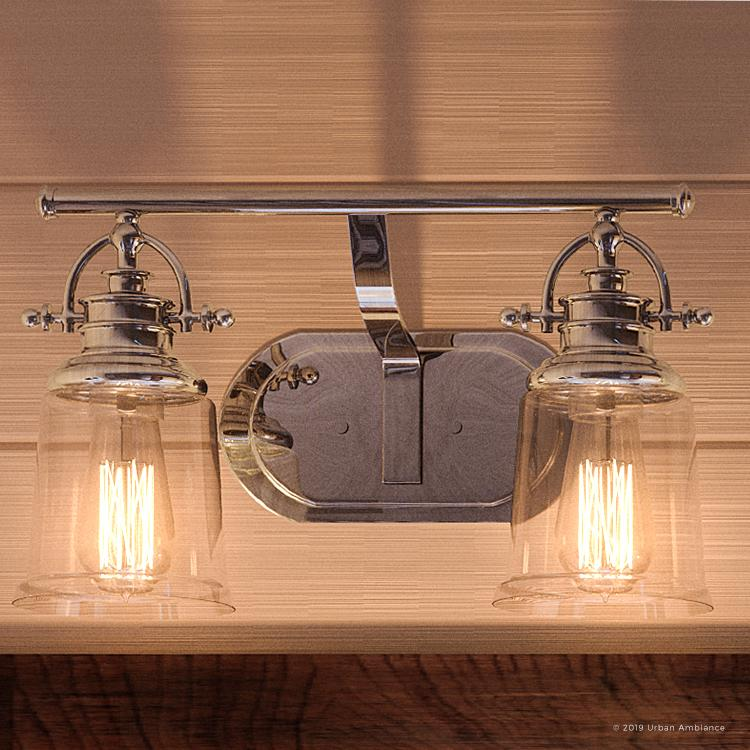 Urban Ambiance Luxury Industrial Bathroom Vanity Light Medium Size 9 5 H X 16 W With Vintage Style Elements Polished Chrome Finish Uql2880 From The Salford Collection Walmart Com Walmart Com