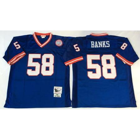 Mens New York Giants Banks  58 Throwback Football Jersey Blue Medium
