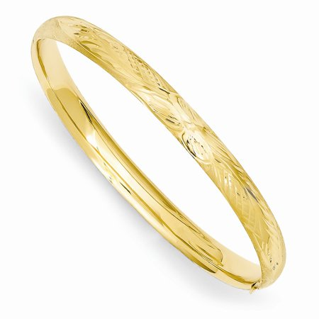 Roy Rose Jewelry 14K Yellow Gold Florentine Engraved Baby Bangle Bracelet ~ length: 6 inches