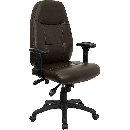 Leather Executive High-Back Office Chair with Built-in Lumbar Support