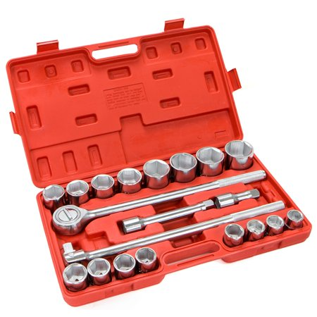 "3/4"" 6-Point Drive Auto Ratchet Sockets Wrench SAE Repair Tool Set with Case, 21PC"