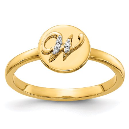 14K Yellow Gold Diamond Initial W Ring (0.015Cttw)