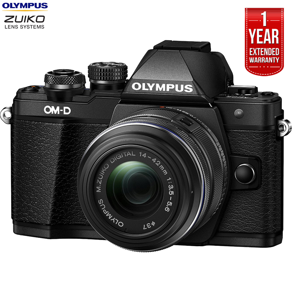 Olympus OM-D E-M10 Mark II Mirrorless Digital Camera w/ 14-42mm IIR Lens Black (V207051BU000B) + 1 Year Extended Warranty (Certified Refurbish)