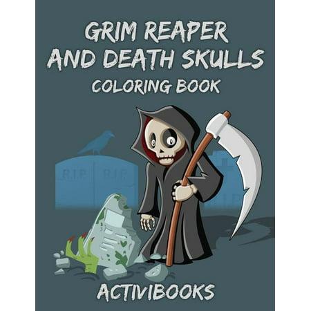 Grim Reaper and Death Skulls Coloring Book
