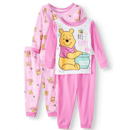 Winnie the Pooh Baby Girls' Cotton Tight Fit Pajamas, 4-Piece Set