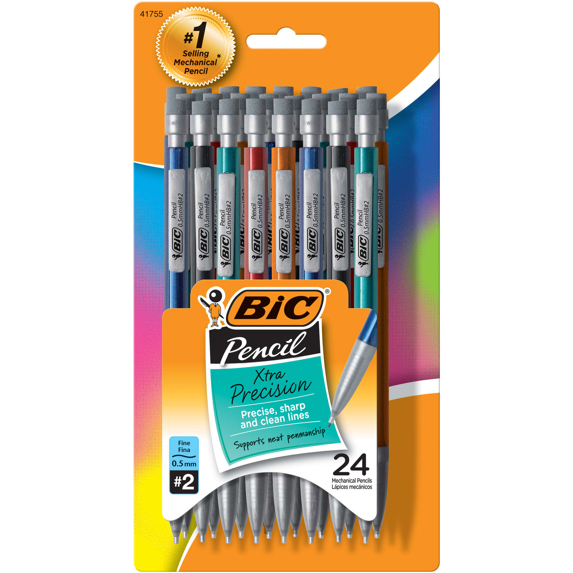 BIC Xtra-Precision Mechanical Pencil, Metallic Barrels, Fine Point (0.5mm), 24 Count