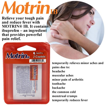 Uni's MotrinIB Headache Relief 6 Count Travel Packs (2 Caplets Per Pack) Relieves Headache, Muscle Aches, Arthritis Pain, Toothache, Backache, Common Cold, Menstrual Cramps and Reduces (Best Medicine To Relieve Menstrual Cramps)