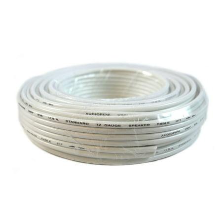 12 GA Gauge 50' FT Speaker Wire 2 Conductor White Jacket Copper Clad Zip (Best Cheap Wired Speakers)